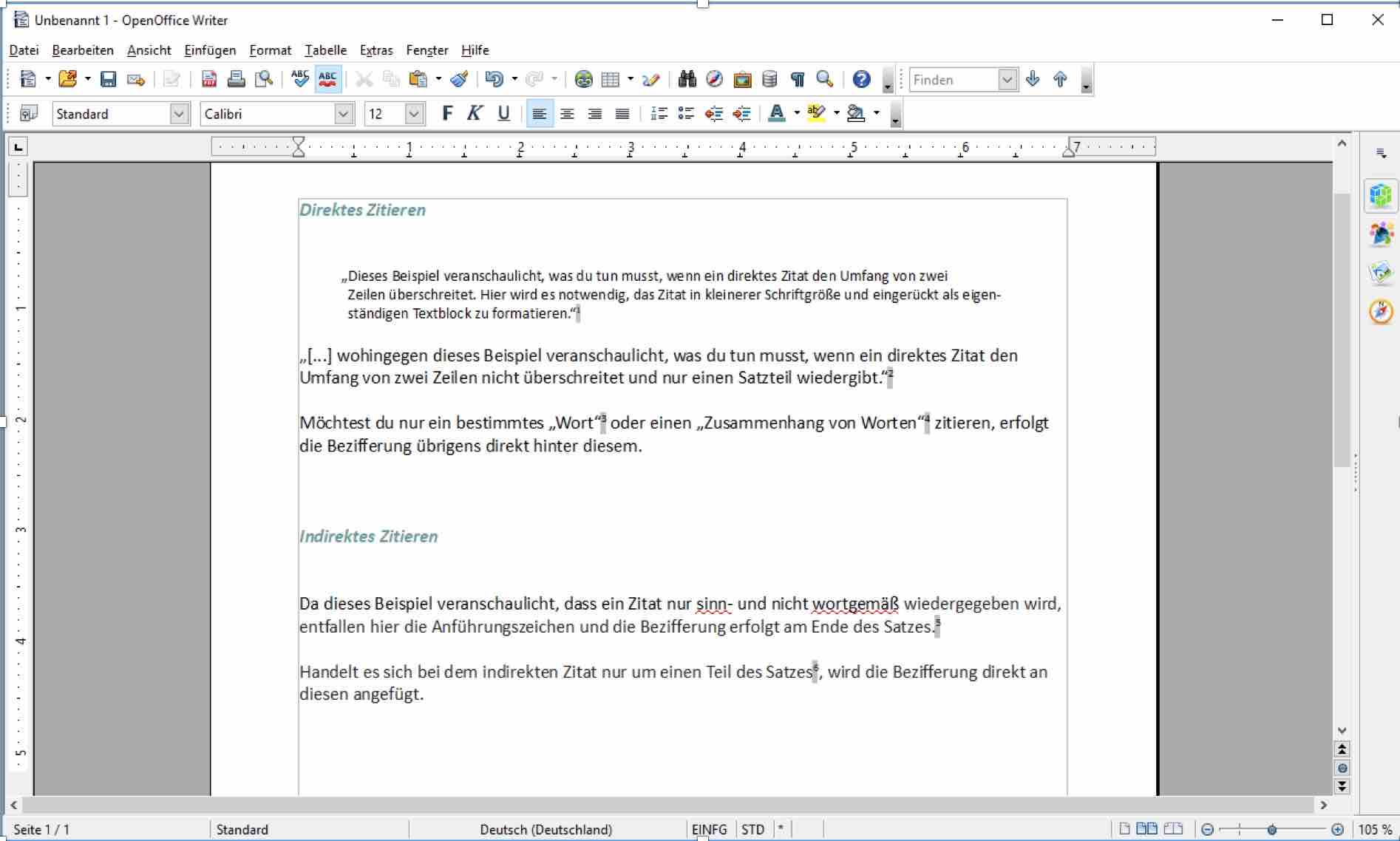 Beispiele für das direkte und indirekte Zitieren im Fließtext