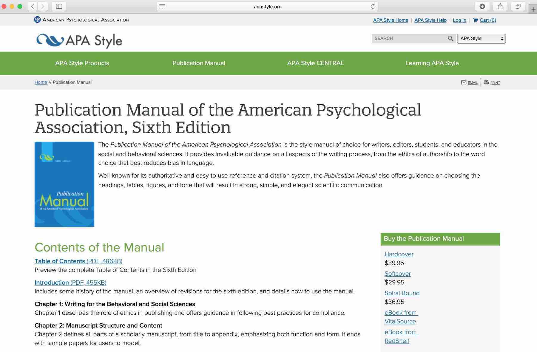 APA Stil - Die Inhalte des Publication Manual der American Psychological Association APA