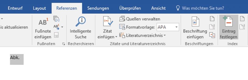 Indexeintrag in Microsoft Word anlegen