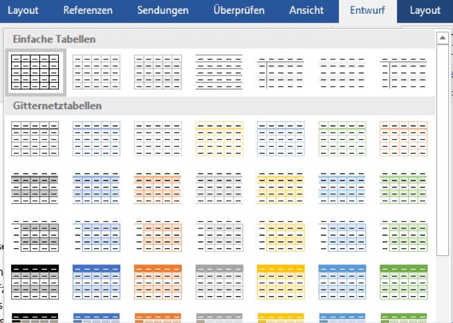 Word hält eine Vielzahl an Tabellenvorlagen bereit