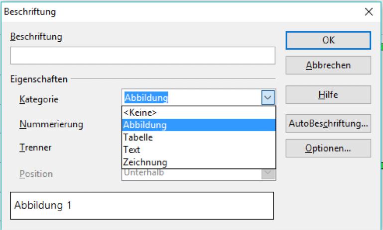 Elemente beschriften in OpenOffice
