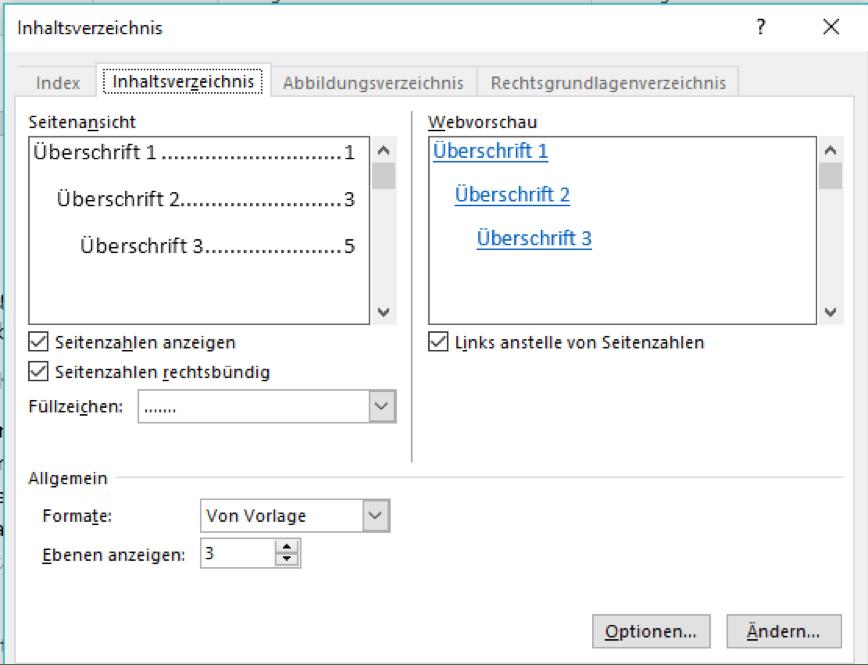 Inhaltsverzeichnis individuell anpassen
