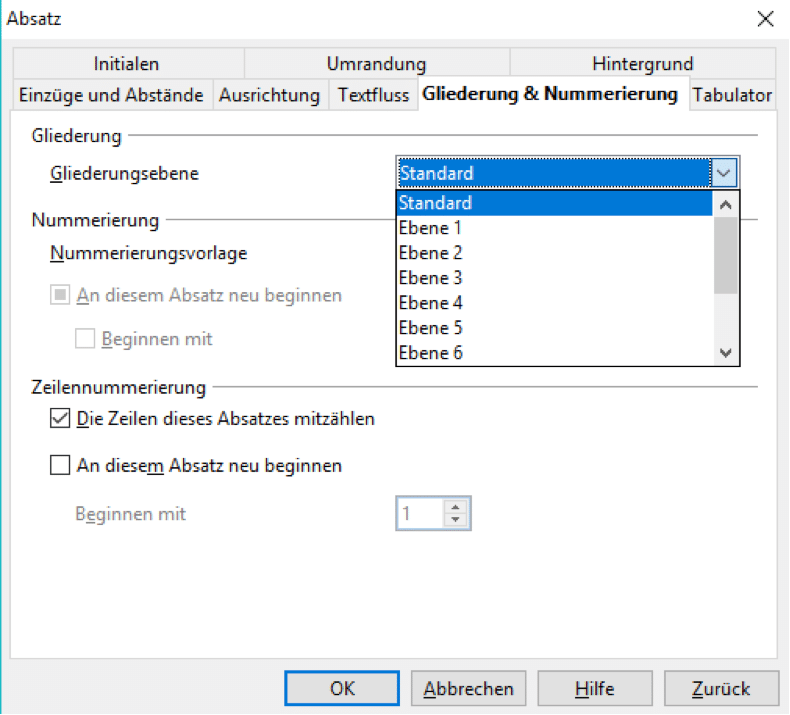 Gliederung in OpenOffice