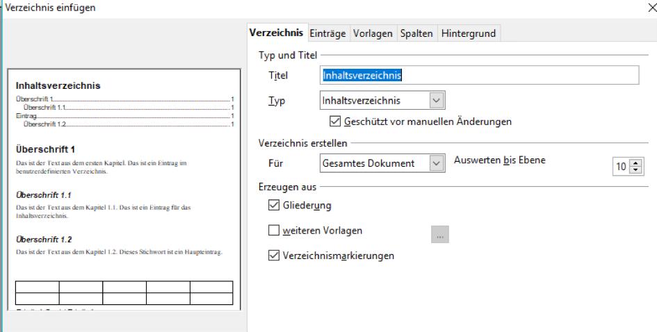 Inhaltsverzeichnis in OpenOffice anlegen