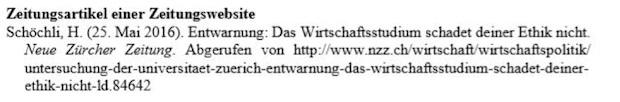 Online-Zeitungsartikel mit URL der Homepage